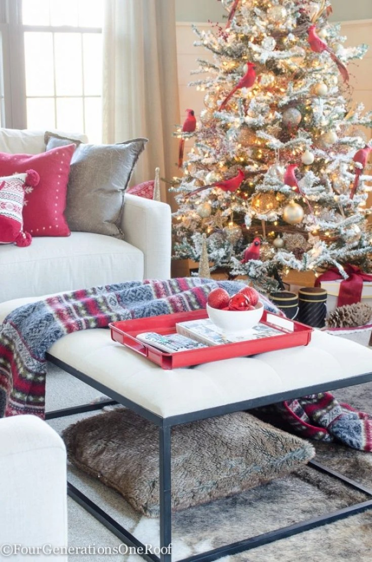 Red + Gold Woodland Themed Christmas Tree and Family Room | Red + Gold Christmas Tree