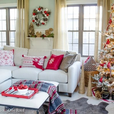 Red + Gold Woodland Themed Christmas Tree and Family Room