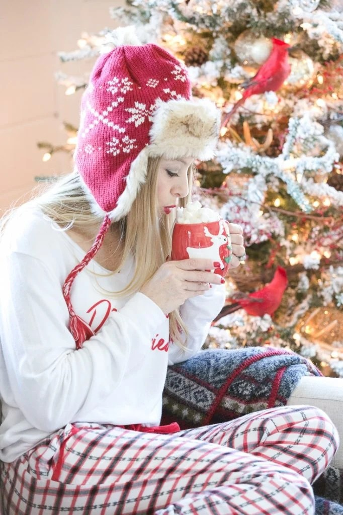 cozy plaid and hot chocolate