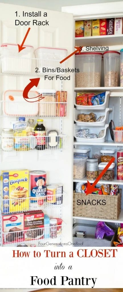 DIY Kitchen Closet Pantry. How to turn a small closet into a kitchen pantry storage area for food.