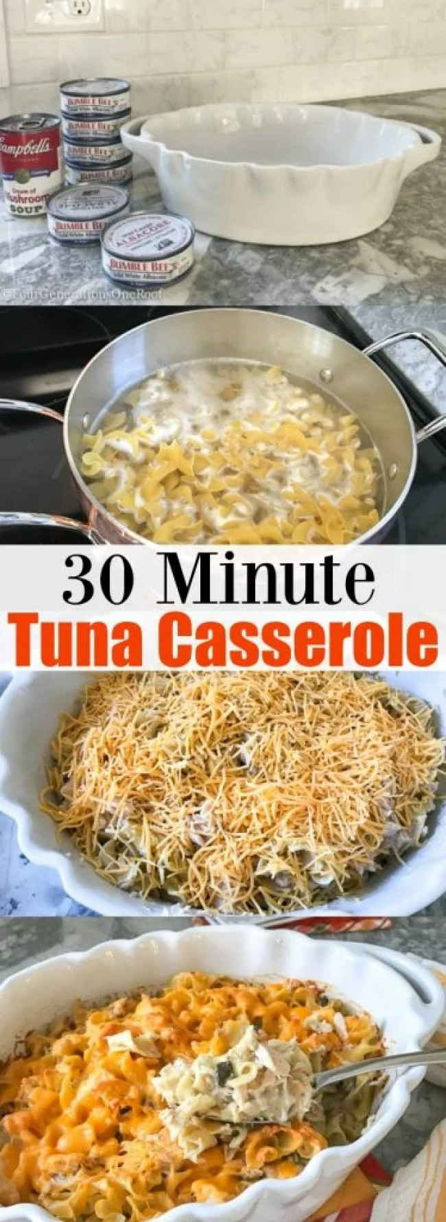 Easy Tuna Casserole Recipe   Made with Cream of Mushroom soup, Egg Noodles, and Cheese