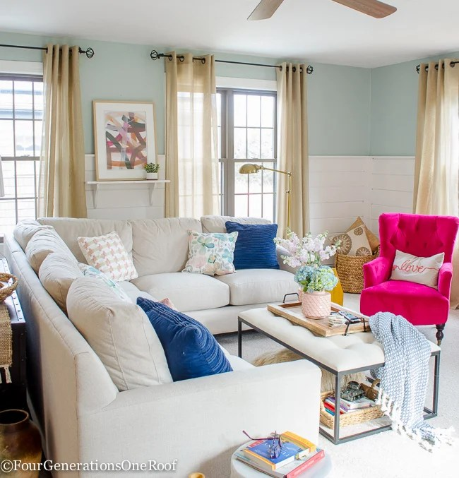 living room blue decorating ideas black furniture set pink four generations one roof
