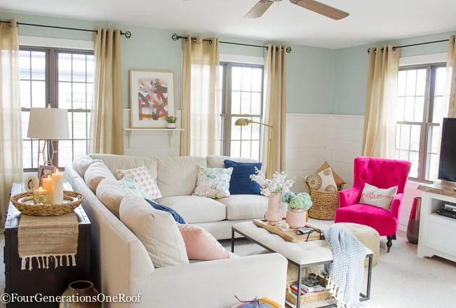 Blue + Pink Living Room Decorating Ideas , Four Generations