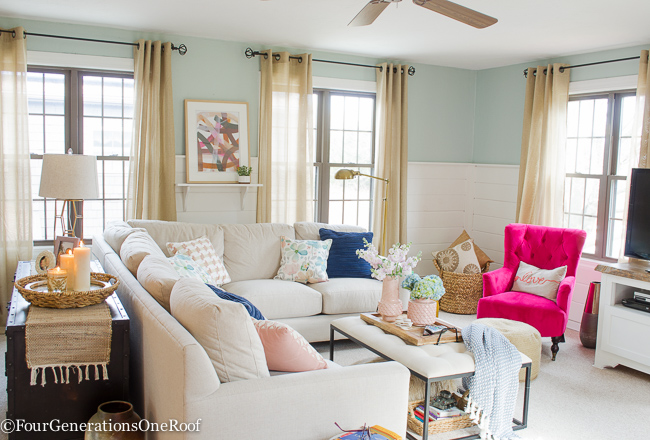 Blue Pink Living Room Decorating Ideas Four Generations