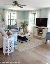Gorgeous brown engineered hardwood family room reveal ...