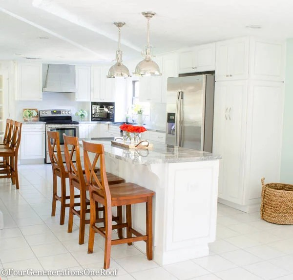 Christmas in July | Gorgeous Cherry Barstools + Chrome Pendant Kitchen Makeover