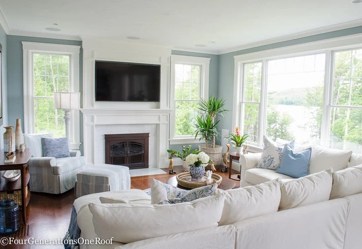 Four Generations One Roof & Coastal Pottery Barn Living Room on a Budget - Four ...