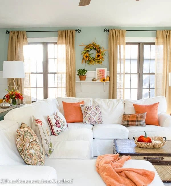 Pretty Orange Fall Living Room Tips + Resource List - Four ...