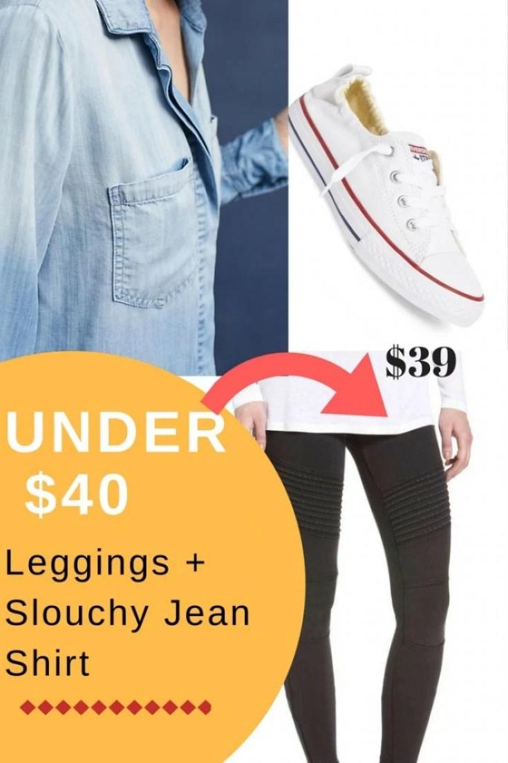 slouchy jean shirt + leggings under $40