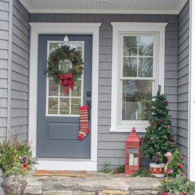 Pretty Christmas Garland + Greens: Front Door