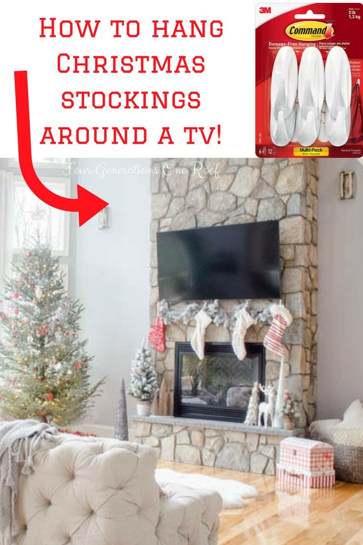 How to hang Christmas stockings around a tv