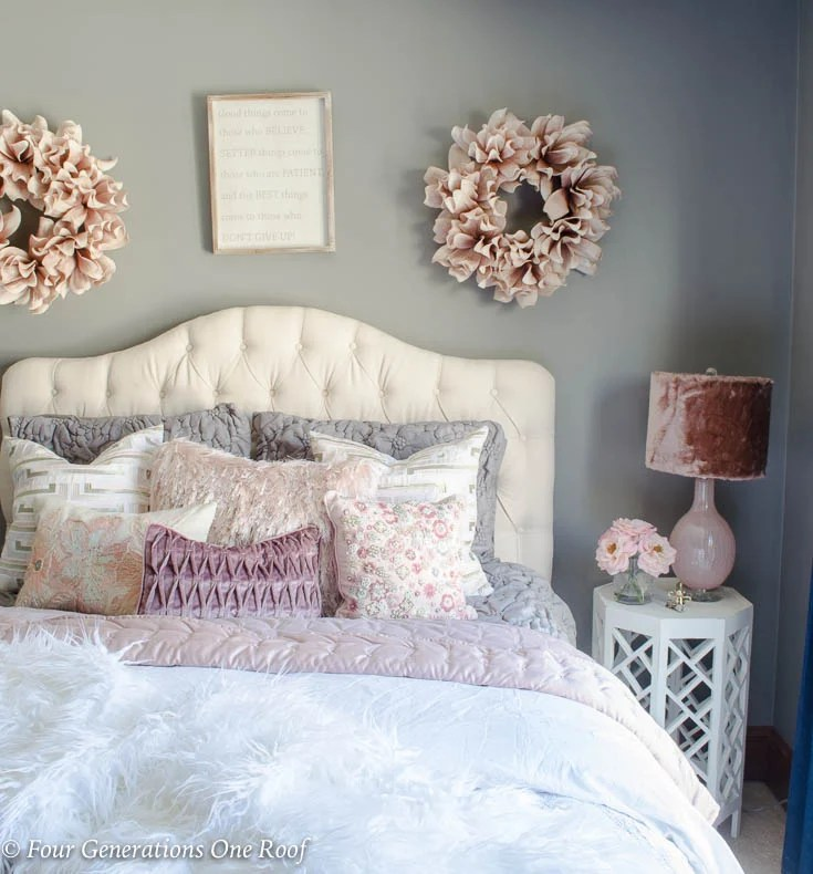 Elegant Teen Girl Queen Bedroom with Fluffy Accents  Four