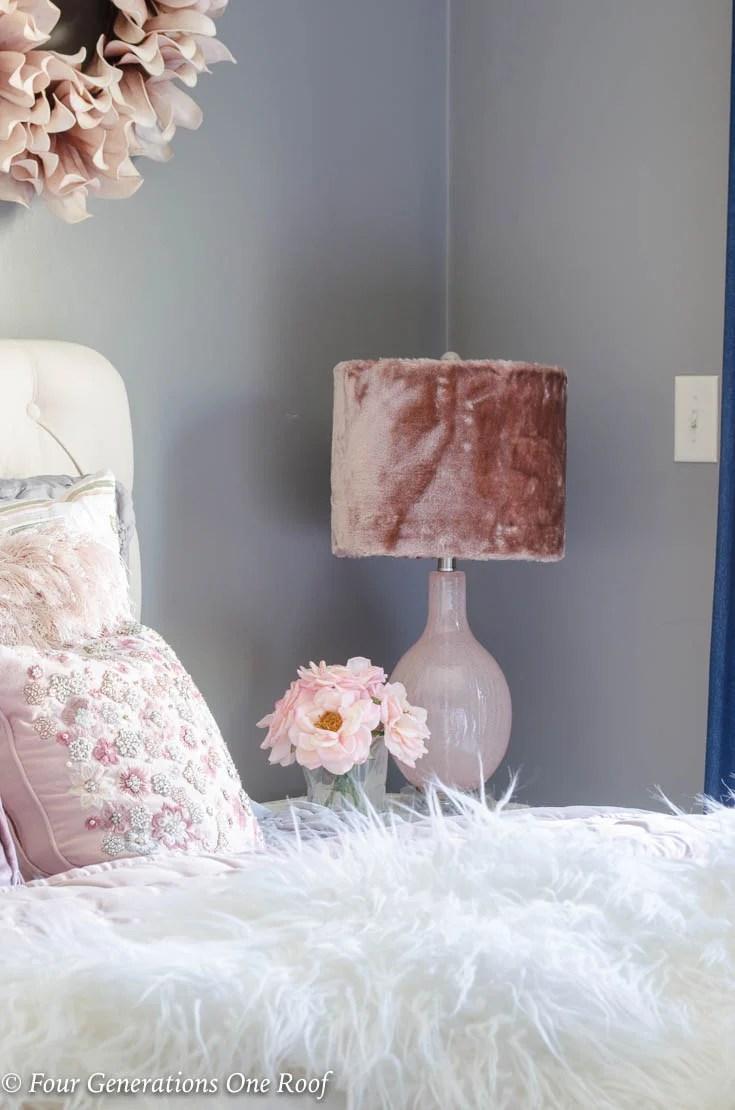Elegant Teen Girl Queen Bedroom with Fluffy Accents