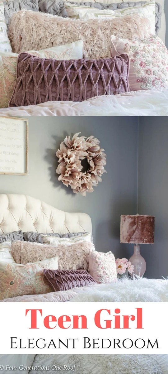 Elegant Teen Girl Queen Bedroom With Fluffy Accents