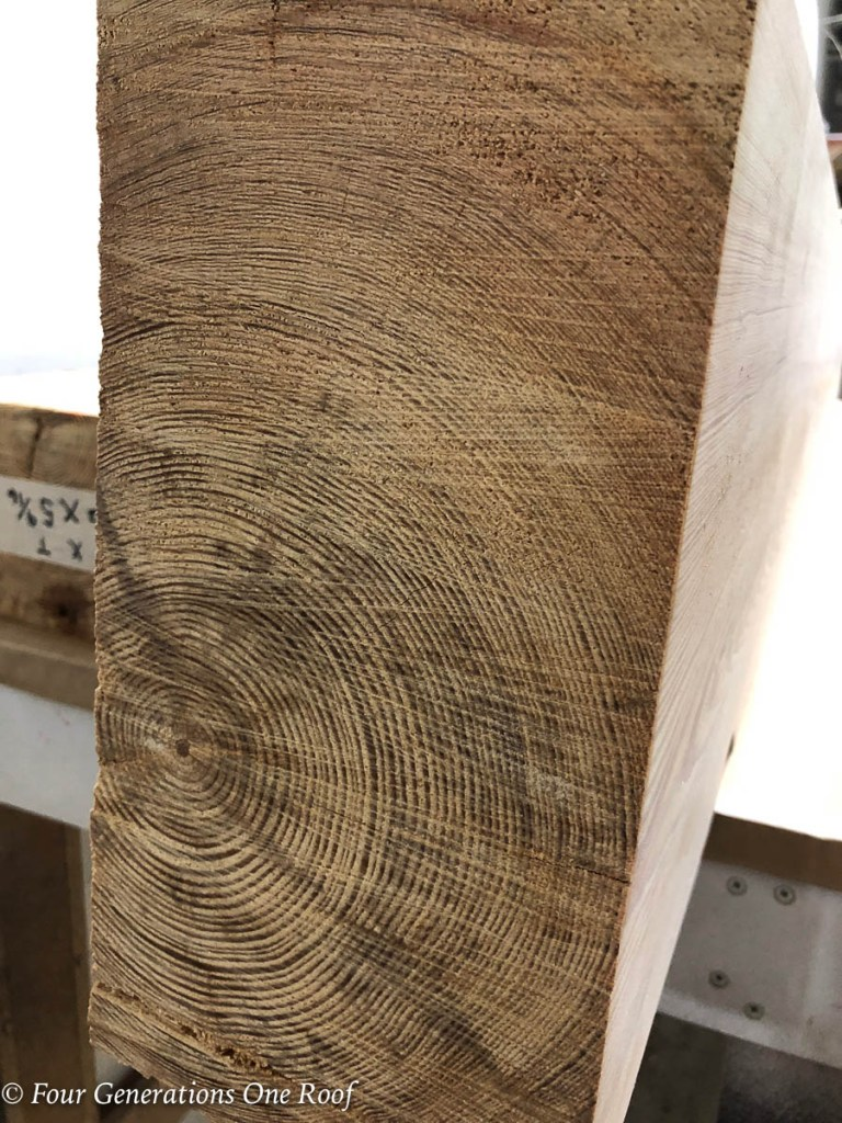Southern Pine Wood Beam with over 100 lines making the beam 100 years old