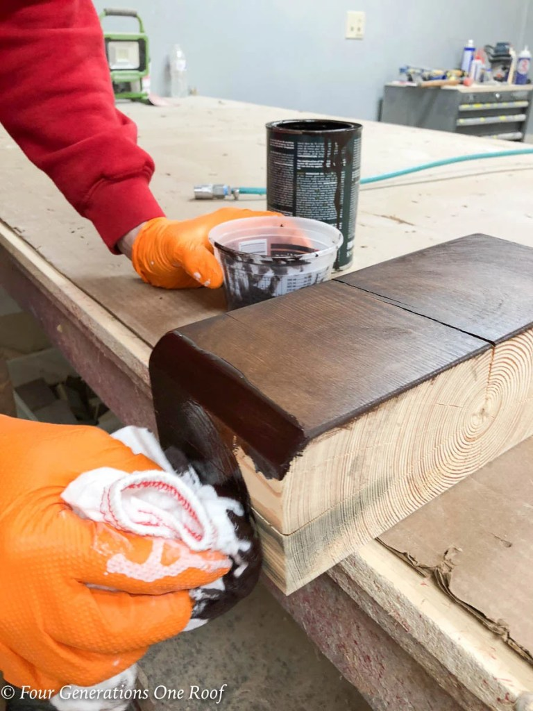How To Stain A Yellow Southern Pine Wooden Beam Four Generations