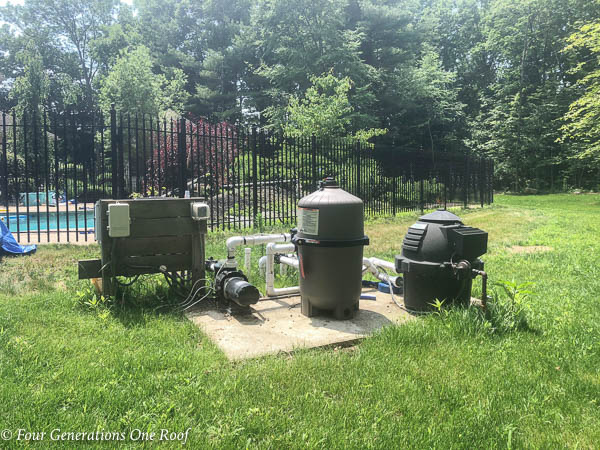 DE Pool Filter System with heater and salt cell. Building a Pool Pump House to protect the DE Filter system