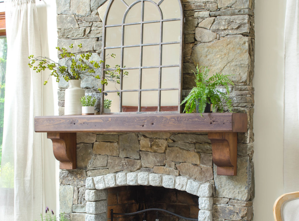 How To Hang A Wood Mantel on a Stone Fireplace using Rebar before  after  Four Generations