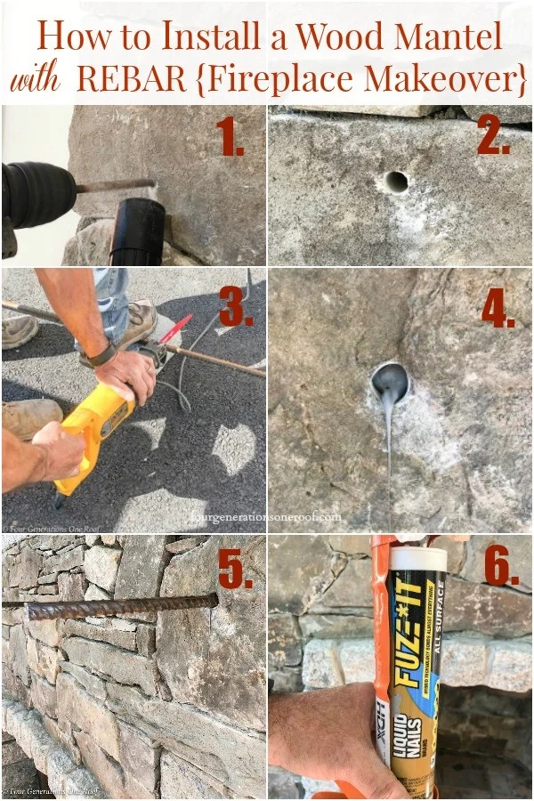 stone fireplace, rebar rods, liquid nails, sawzall, how to install a wood mantel with rebar