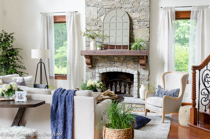 How to Create a Rustic Modern Living Room with high ceilings - Four ...