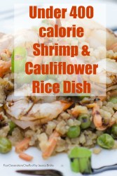 Under 400 Calories 15 minute Shrimp and Cauliflower fried rice dish
