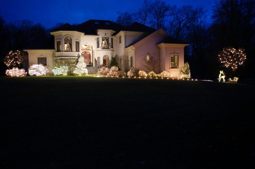 Easy Outdoor Christmas Lights with Big Impact | Christmas shrub lights | Christmas tree lights | Christmas walkway lights