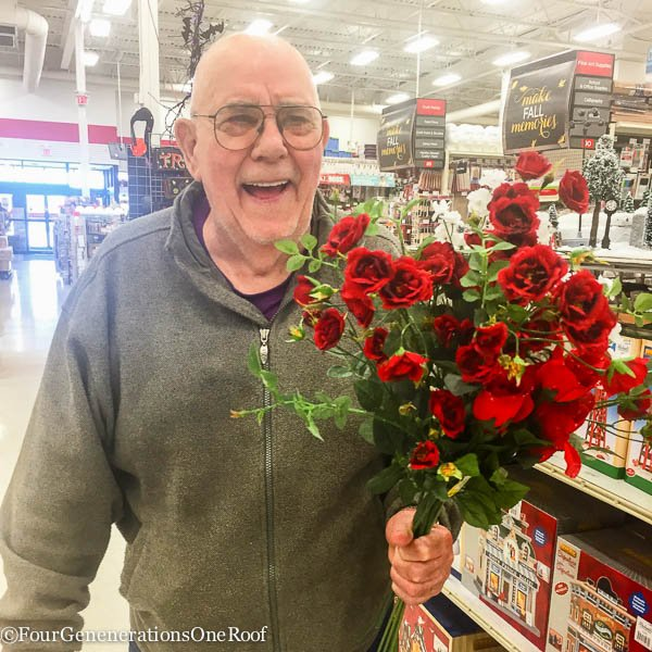 Grandfather with roses