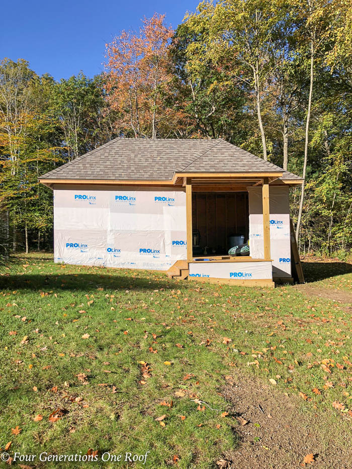 Hip Roof Pool House Shed with no doors or windows
