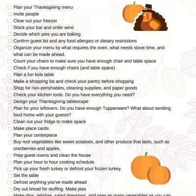 Leaves + Turkey Thanksgiving Checklist Printable + Remembering My Gram