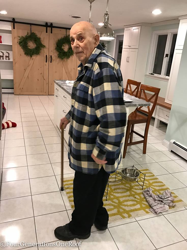 grandfather with cane in kitchen | Multigenerational Home