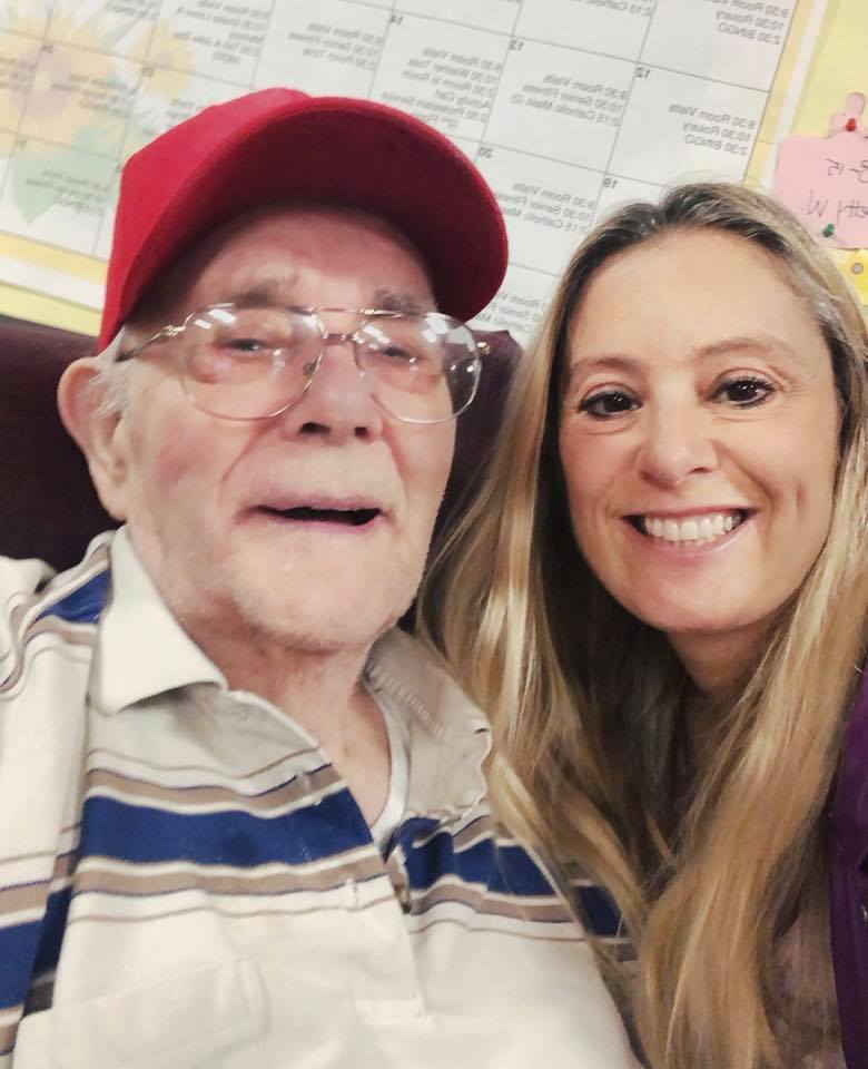 Grandfather and granddaughter at nursing home