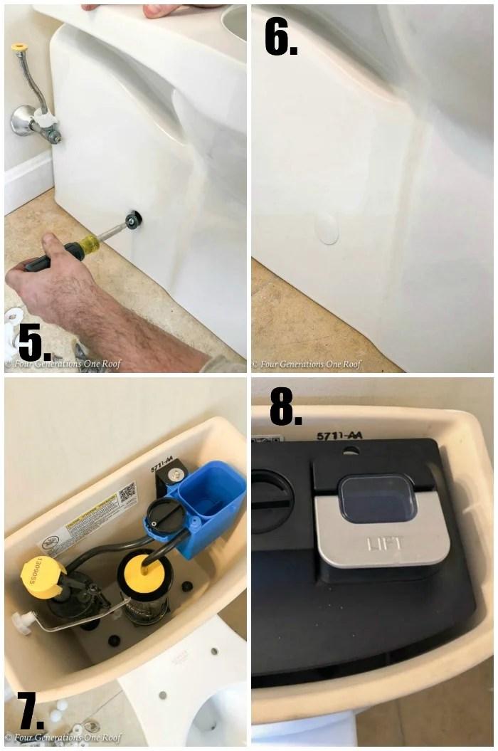 Narrow Bathroom Renovation Kohler Toilet installation process ContinuousClean Soft Close Toilet