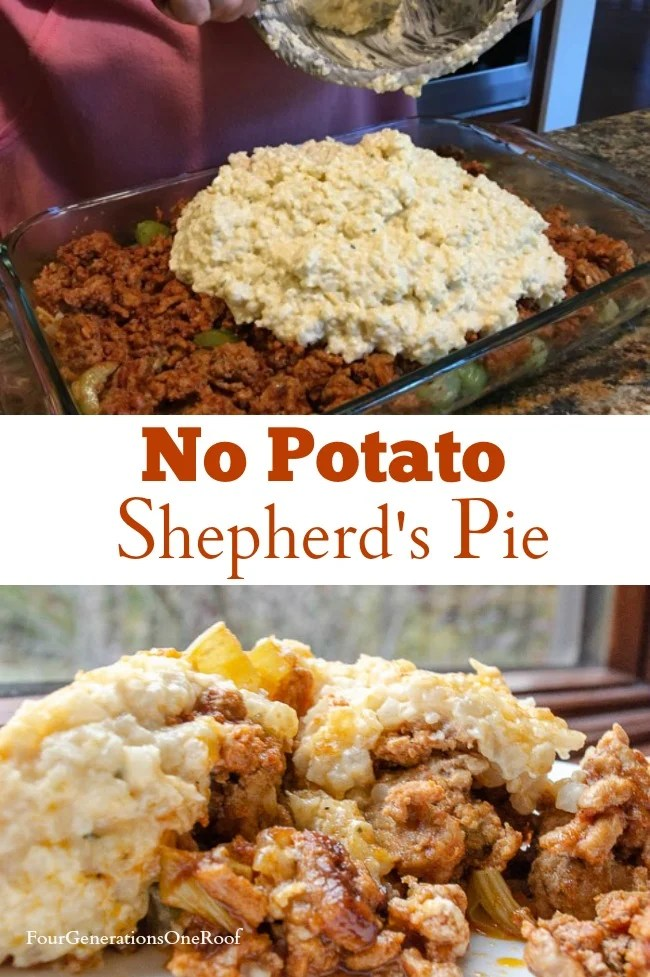 Moms Cauliflower Shepherd's Pie | Cauliflower rice as mashed potatoes, cream cheese, ground beef, milk