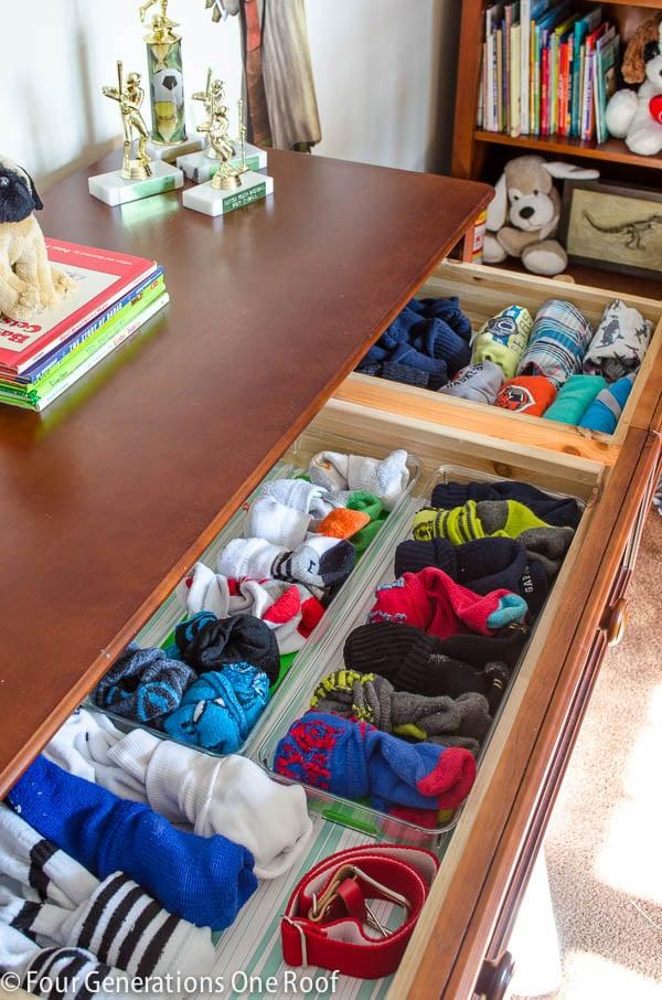 Sock Drawer Bureau Organization, Plastic Containers for Socks,
