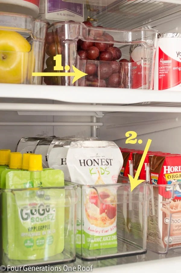 Plastic Refrigerator Storage containers for juice boxes, fruit, yogurt, deli meats, soda | Refrigerator Storage Ideas |