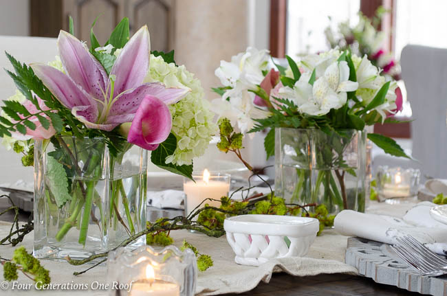 easter flowers on table