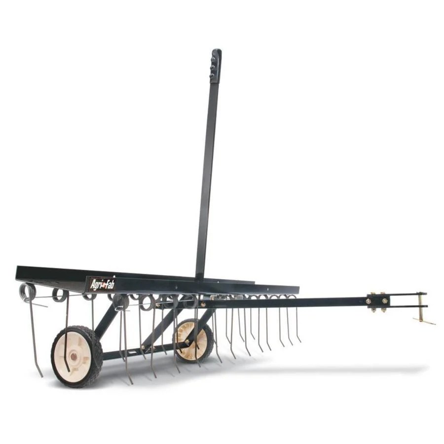 lawn dethatcher with rake and hitch attachment for mower