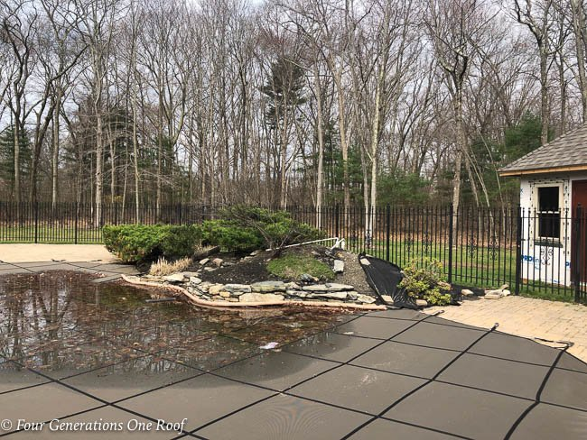pool, cleaned flower bed, trimmed juniper, mulch removed