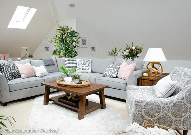 My Lady Loft Living Room with sloped ceiling - Four ...