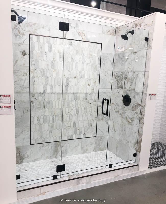 marble walk in shower