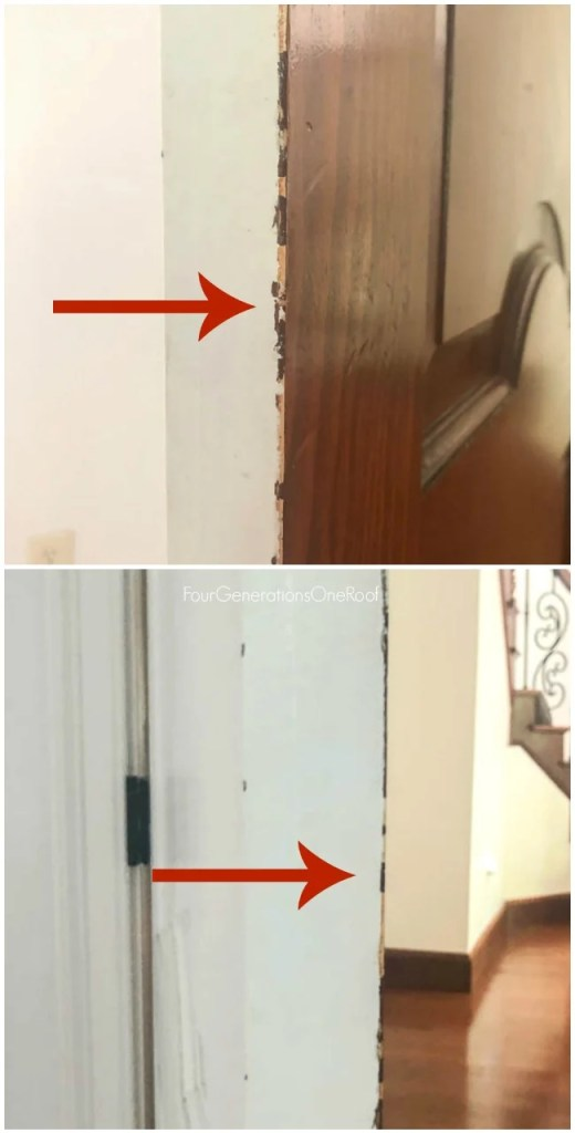 Chipped Stained interior bedroom Door with white paint