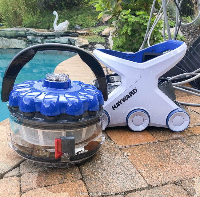 best pool cleaning robot - Hayward AquaVac 6 Series robotic pool cleaner filter full of leaves