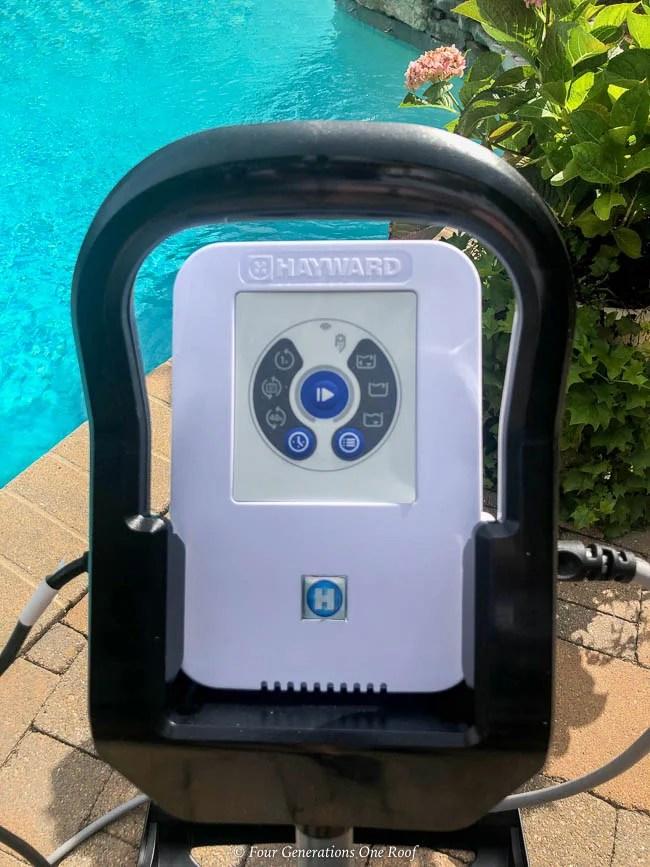 Hayward AquaVac 6 Series robotic pool cleaner control panel on caddy