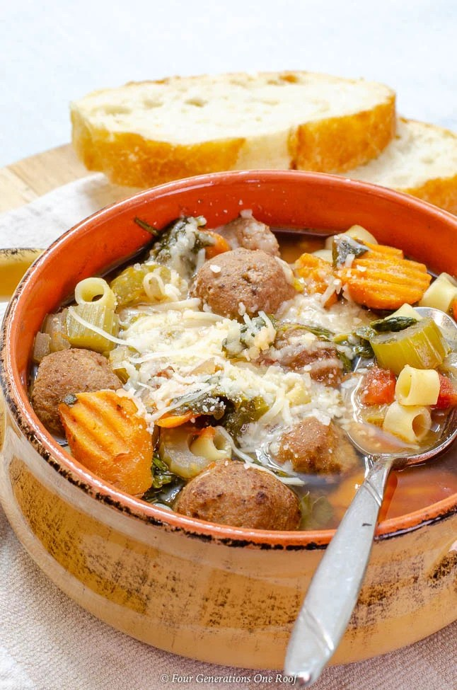 Meatball Stew Crockpot with pasta, vegetables and cheese