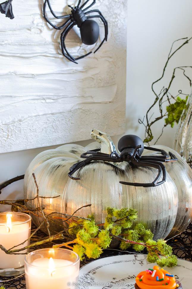 mercury pumpkins from Ebay + spider + black and orange halloween cupcake table ideas