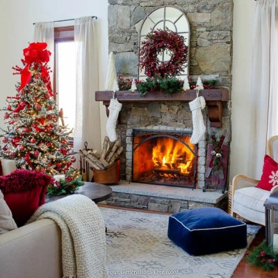 My Holiday Brown Wood Mantel Decorating Ideas + Christmas Red Living Room