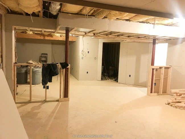 basement remodel gaining storage closets sheetrocked closet