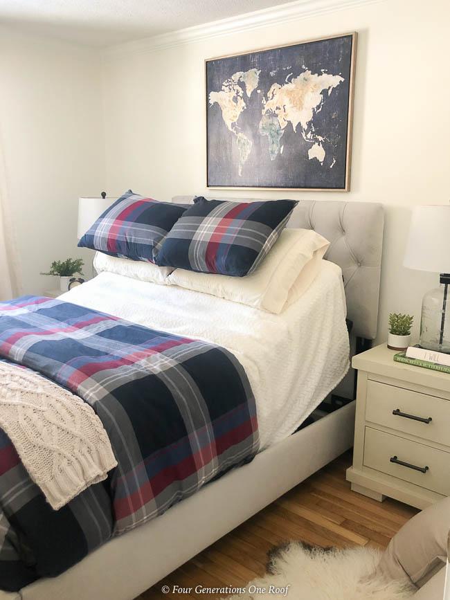 adjustable base bed, plaid bedding