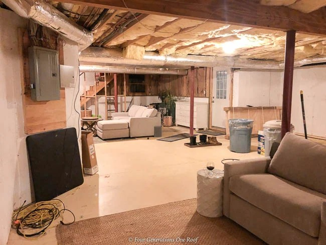 open basement, lally columns, no storage furnace storage area