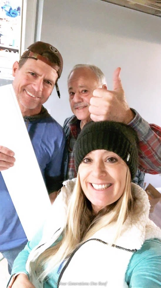 Jessica Bruno and crew basement renovation Armstrong Accent WAll